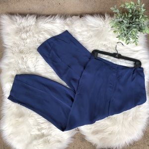 Eileen Fisher Silk Crepe Flair Pants Midnight Blue